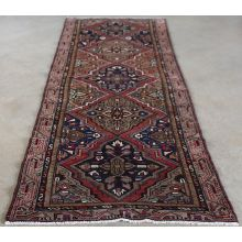 "3'2"" x 9'4"" Salmon, Rose and Blue Hamadan Persian Runner Circa 1965"