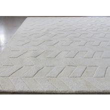 8' X 11' Alabaster 100% Wool Geometric Patterned Rug