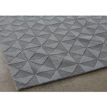 8' X 11' Pewter 100% Wool Geometric Patterned Rug