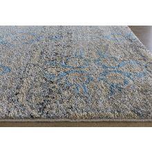 "9'6"" x 13'2"" Taupe/Azure Floral Patterned Rug"