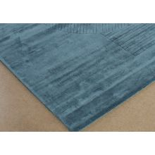 9' X 12' Blue Hand Knotted Geometric Carved Rug
