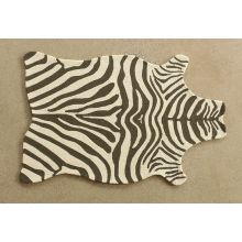 "3' 6"" X 5' 6"" Brown And Ivory Zebra Rug"