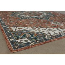 """9' 3"""" X 13' Rust And Ivory Traditional Wool Rug"""