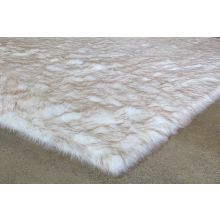 """7' 10"""" X 10' Ivory And Beige Faux Fur Rug"""