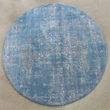 """7' 7"""" Round Blue And Taupe Power Loomed Rug"""