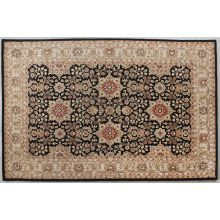 "9'3"" X 13' Black/Gold Persian Style Tufted Rug"
