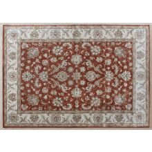 8' X 11' Rust Indian Style Tufted Wool Rug