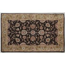 5' X 8'  Dark Brown Persian Style Tufted Wool Rug