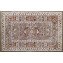 """6'7"""" X 9'4"""" Camel And Coral Botanical Rug"""
