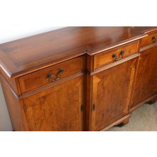 Yew Wood Breakfront Console Cabinet, Circa 1960