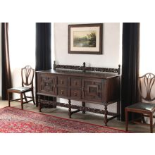 Jacobean Style Carved Oak Sideboard with Rail, Circa 1920