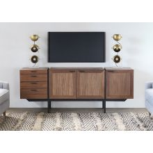 Danish Modern Media Cabinet with Side Drawers