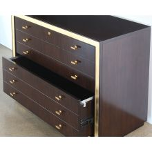 C-Suite Dark Wood Executive Credenza with Gold Accents