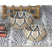 Set Of 2 Raffia Nesting Baskets W/Tribal Pattern