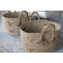 Set Of 2 Seagrass Woven Nesting Baskets W/Handles