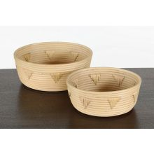 Natuaral Rattan Nesting Baskets W/Woven Accents
