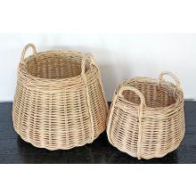 Set Of 2 Antique Honey Rattan Baskets