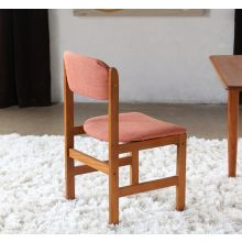 Danish Modern Side Chair with Orange Upholstery