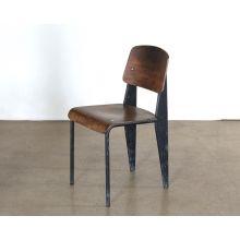 Vintage Black Metal and Reclaimed Wood Side Chair