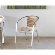 Teak and Aluminum Bistro Chair