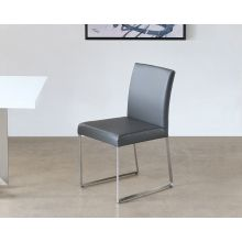 Gray Leatherette and Polished Stainless Steel Dining Chair