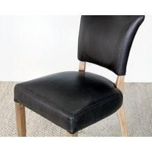 Black Leather Dining Chair with Weathered Oak Frame
