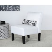 Off White Slipper Chair With Kidney Accent Pillow