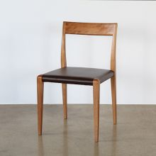 Walnut And Brown Leather Chair
