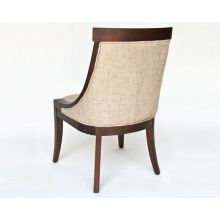 Textured Linen Side Chair with Dark Brown Wood Frame
