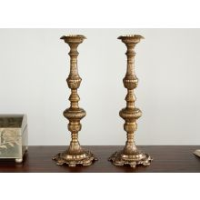 Pair of Antique Brass Ornate Candle Holders