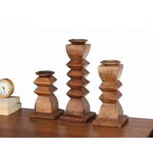 Set of 3 Desta Wood Candleholders
