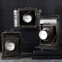 Set of 3 Vintage Camera Desk Clocks - Cleared Décor