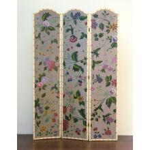 Faux Antique Painted Floral Screen