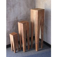 Set of 3 Natural Sheesham Wood Nesting Tables