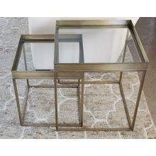 Set of 2 Antique Brass Nesting Tables with Glass Top