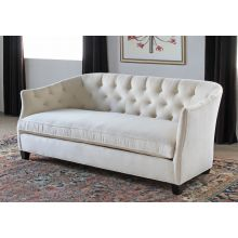 Curved Sofa with Tufted Back in Linato Cream