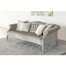Tufted Sofa in Brushed Gray Chenille