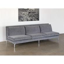 Armless Sofa in Charcoal Velvet