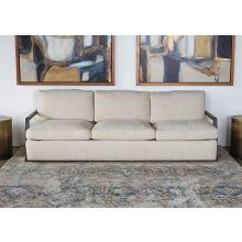 Open Arm Oak Framed Sofa in Taupe
