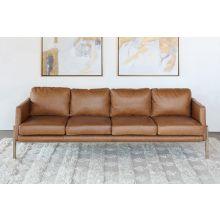 Natural Oak Track Sofa In Butterscotch Leather