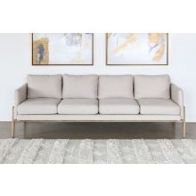 Natural Oak Track Sofa with Ivory Upholstery