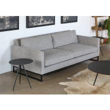Slim Square Arm Sofa In Textured Light Gray