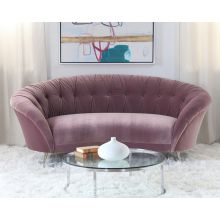Rose Velvet Tufted Sofa with Splayed Legs