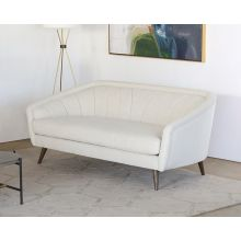 Ivory Curved Channeled Back Sofa