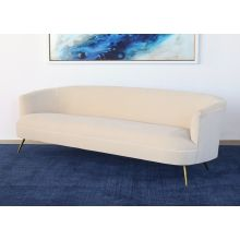 Curved Sofa With Tight Back And Antique Brass Legs