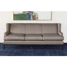 Grey Tightback Twill Sofa With Nailhead Trim