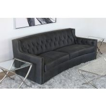Charcoal Grey Leather Sofa With Tufted Back