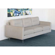 Ivory Woven Mid Century Style Sofa