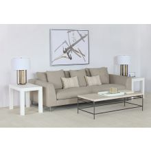 Contemporary Beige Sofa With Toss Pillow Back