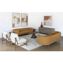 Amber Pill Sofa On Cross Black Stainless Steel
